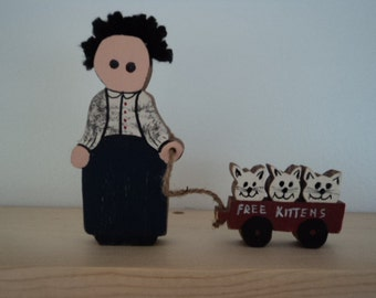 Rustic Girl with kittens, Rustic shelf sitter, Kittens in a wagon,Girl wagon and kittens, rustic wagon with kittens, girl with kittens