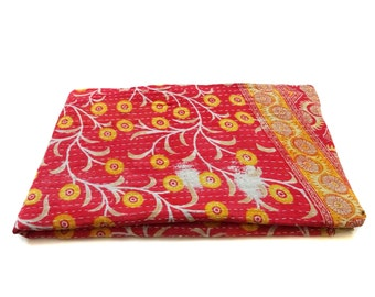 Twin Quilt Handmade Indian Cotton Bedspread Gudari , Indian Bedding, Indian Throw ,Kantha stiches