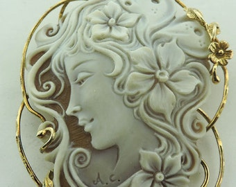 Natural Carved Sardonic Cameo Brooch Pendant
