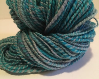 Handspun bfl wool yarn. 2ply worsted weight. weighs 3.9oz appx. 140 yards.