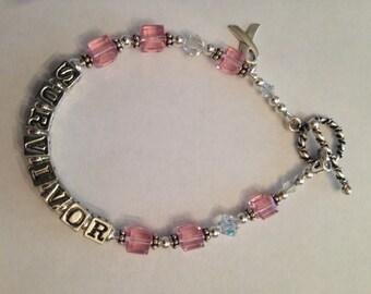 Pewter Breast Cancer Bracelet