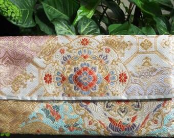 Vintage Japanese Silk Fukoro Obi Clutch Purse