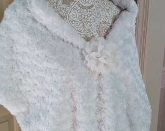 Bridal Wrap Wedding Shawl Faux Fur Stole White - Great Wedding Shower gift for Bride to be