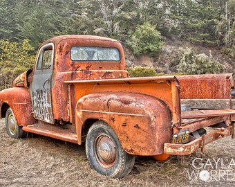 Rusted Truck at Pumpkin Farm - Fine Art Print - 8x10 11x16, Landscape Photograph