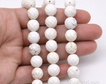 Howlite beads, 10mm round faceted, genuine white howlite beads, gem faceted stone beads, gemstone beads strand, natural stone beads, HWL1060