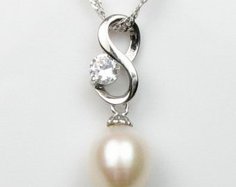 White pearls pendant, 925 sterling silver crystal pearl pendant, freshwater pearl tear drop pendant, real pearl necklace, 7-8mm, F1335-WP