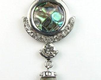Abalone shell pendant, paua shell drop pendant, natural abalone paua pendant, abalone leather cord necklace, sea shell jewelry, SH1340-AP