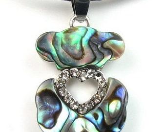 Abalone shell pendant, teddy bear pendant, sea shell pendant, leather cord necklace, paua shell necklace, beach necklace,SH1450-AP