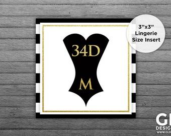 Lingerie Size Insert. Bridal Shower Invitation Insert. Bride Bra & Panty Size. White, Black, Gold Printable Corset. Black and White Stripe