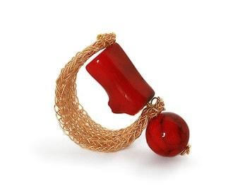 gemstone ring, coral ring, minimal ring, gold ring, beaded ring, semi precious ring