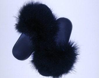 Black Fuzzy Slides
