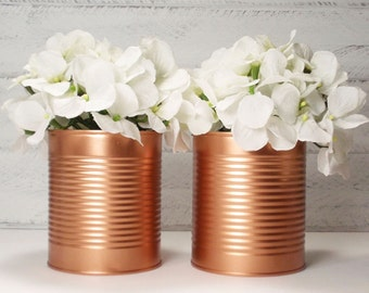 Brand New Trending Painted Tin Cans- Wedding Centerpieces-Metallic Copper- Vintage- flower Vases- Rustic Weddings