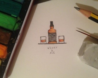 whisky and ice miniature watercolour