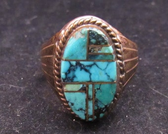 Sterling Silver Gold FIlled Southwest Style Multi Stone Turquoise Ring (0004)