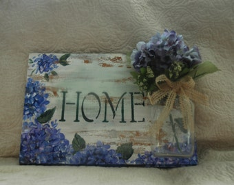 Hand Painted Hydrangea Sign