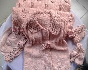Hand Made Baby Girl Blanket,Vest,Hat,Booties New