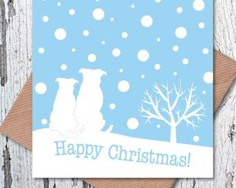 Dog Lovers' Christmas Greetings Card – Snow Scene