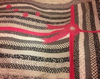 Black and White Stripes with Fuchsia Bow