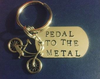 Pedal To The Metal Biking Aluminum Nickel Free Key Ring