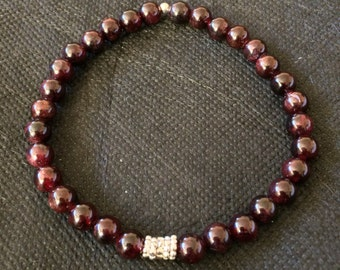 Red Garnet Sterling Silver Bracelet, Beaded Bracelet, Gemstone Bracelet, Jewellery, Stacking Bracelet, Stack Bracelet, Layering Bracelet,