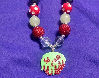 Poison Apple Snow White Halloween Evil Queen Toddler Bubblegum Necklace.  Girls Glow in the Dark Gumball Necklace