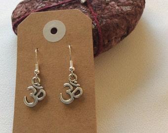 Ohm Buddhism peace sign drop earrings hippy boho handmade jewellery