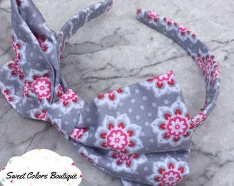 Pink & Grey Pattern Headband