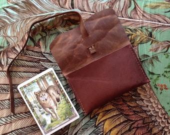 Druid Oracle, Large Tarot Pouch, Kangaroo Leather
