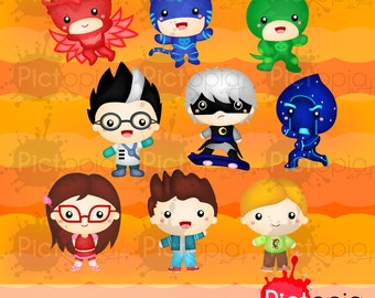 Voucher code buy1get1 Kid Superhero Digital Clipart for Personal Use / INSTANT DOWNLOAD