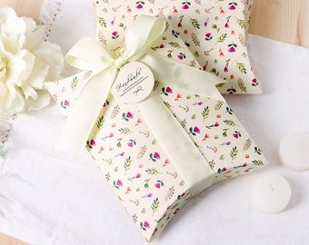 5 floral printed pillow boxes, small boxes, flat boxes, favor boxes, wedding favor boxes, favour boxes, pillow box, jewelry gift box