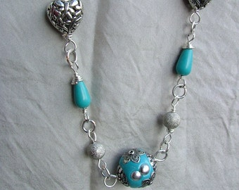 turquoise necklace with Indian beads polymer clay and turquoise