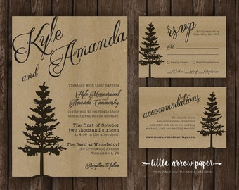 Rustic Tree Silhouette Wedding Invitation Bundle - Invitation, Response, and Details - Printable Customized