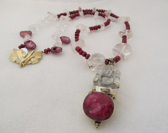 Lanyard Style, Red Fresh Water Pearls, Rock Crystal Pendant of Carved Crystal with Large Inset Ruby Necklace | #6