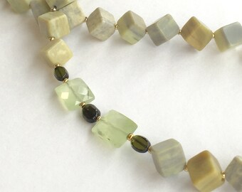 Butter Jade * Emeralds * Vermeil * Spring Necklace