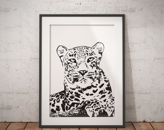 Leopard Art Printable, Leopard Print, Printable Poster, Instant Download, 8x10, Home Decor Printable