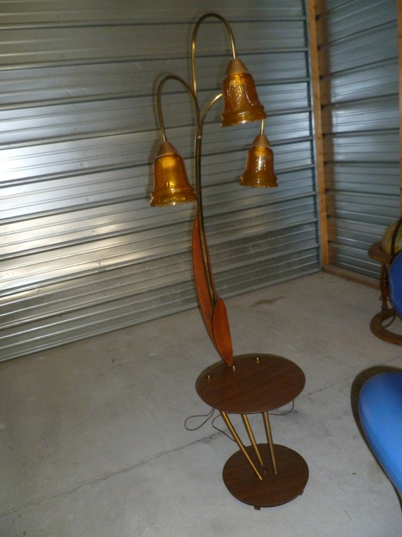 Vintage Table With Lamp Attached : Mid century floor lamp w attached table retro by daisiedukes