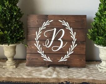 Monogram wood sign