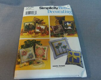 """Pillow Pattern 10 Designs 16"""" and 21"""" Square, Uncut, Simplicity 7236, Home Decor, Couch Accessory"""