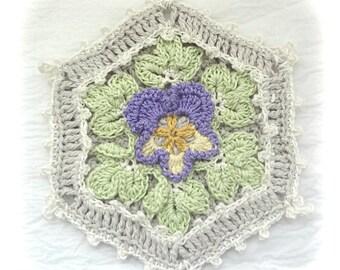 Pansy Cottage Potholder, Crocheted Potholder, Square Crocheted Potholder, Shabby Chic Decor Potholder