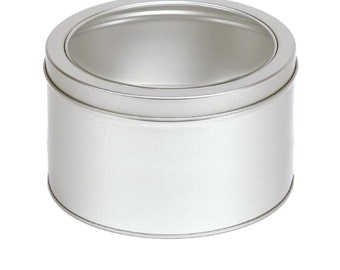 24 Deep 3.25 Inch Round Window Clear Lid Tins Empty
