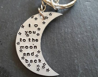 I love you to the moon and stars keyring / hand stamped keyring / moon and stars keyring / Valentine's gift / personalised keyring