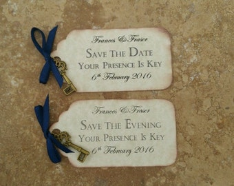 SAVE THE DATES, Large, Vintage, With key charm & Magnet. x 10