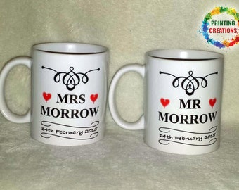 Mr and Mrs set of personalised ceramic mugs wedding anniversary special occasion gift boxed