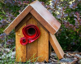 Unique Rustic Birdhouse with Red accents