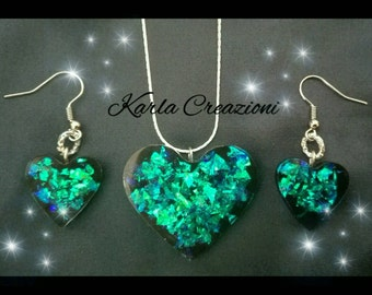 Parure necklace + earrings holographic effect resin with hints of green and blue