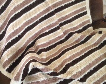 Handmade Brown Crocheted Blanket