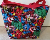 Marvel Comic Characters Quilted Hold All Tote Bag
