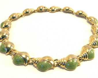 Vintage gold tone and green resin shell necklace