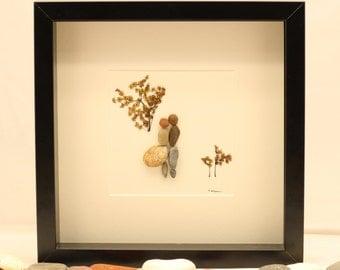 Pebble art picture, couple hugging, kissing, love, engagement, wedding.