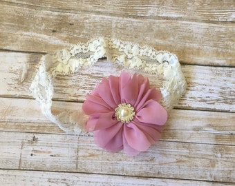 Dusty Rose Headband, Mauve Headband, Baby Headband, Baby Girl Headband, Infant Headband, Toddler Headband, Newborn Headband, Fall Headband
